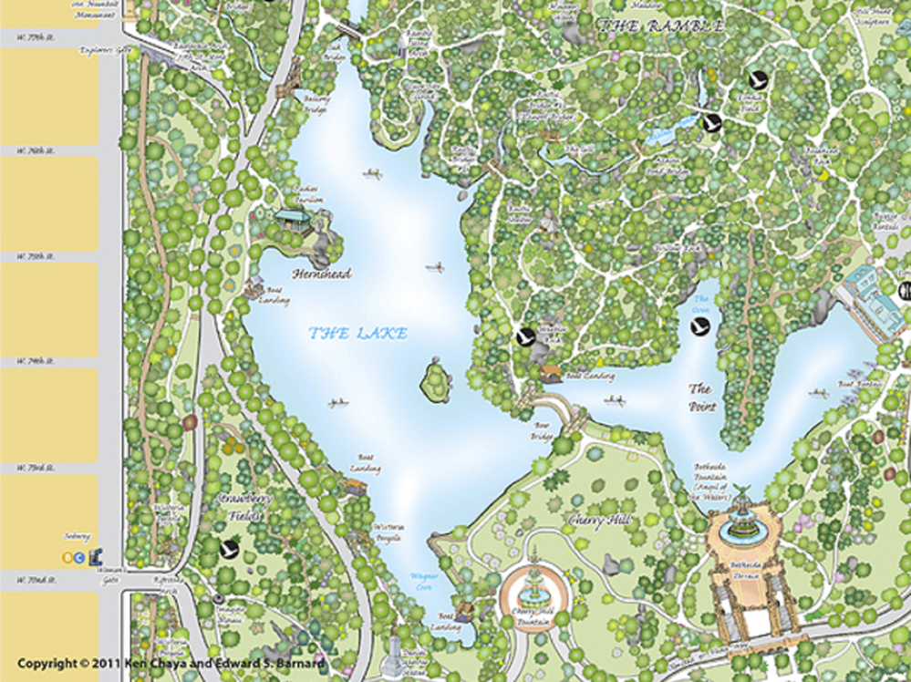 A selected portion of a map of Central Park, in New York City, created by Ken Chaya of Central Park Partners.