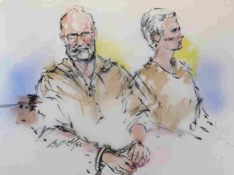 "In this courtroom sketch, James ""Whitey"" Bulger, left, and his girlfriend, Catherine Greig, are shown during their arraignment in Los Angeles."