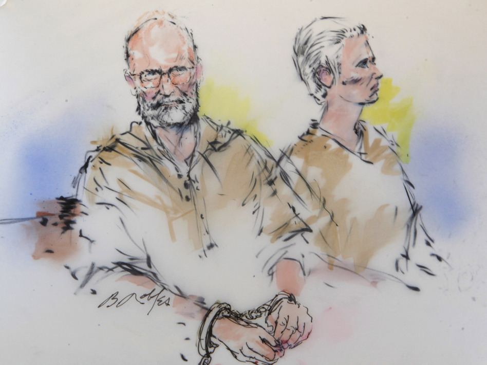 """In this courtroom sketch, James """"Whitey"""" Bulger, left, and his girlfriend, Catherine Greig, are shown during their arraignment in Los Angeles. (Bill Robles/AP)"""