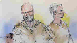 """In this courtroom sketch, James """"Whitey"""" Bulger, left, and his girlfriend, Catherine Greig, are shown during their arraignment in Los Angeles."""