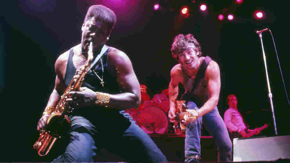 Clarence Clemons and Bruce Springsteen during a Dec. 12, 1984, concert in Lexington, Ky.