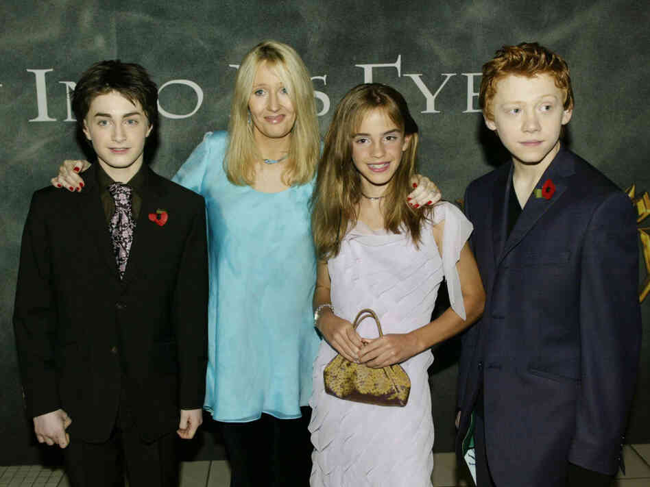 From left, actor Daniel Radcliffe, author J.K. Rowling and actors Emma Watson and Rupert Grint arrive for the world premiere of Harry Potter and the Chamber of Secrets at the Odeon Leicester Square on Nov. 3, 2002, in London.