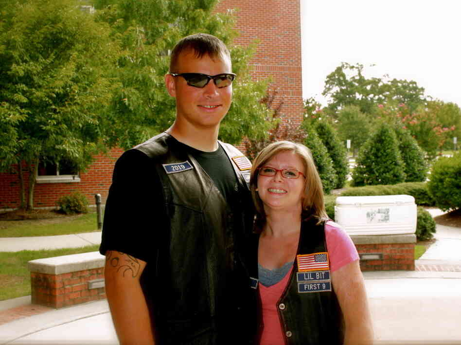 Ashley with her husband, Jesse, last summer between his deployments with the Army.