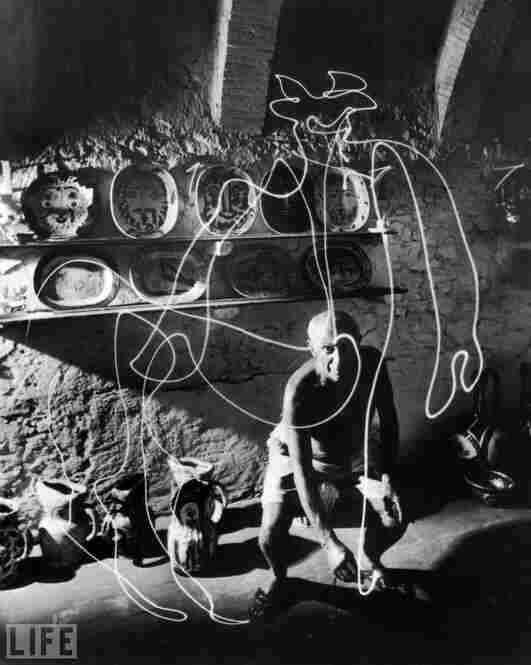 "In 1949, Life photographer Gjon Mili visited Pablo Picasso in the south of France. Most of the phtoos that resulted were black-and-white, including the memorable ""light painting"" photos. But Mili also took a few rolls of lesser-known color photographs."