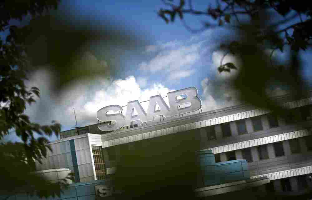 The Saab sign towers over the factory in Trollhattan, Sweden on June 23, 2011.