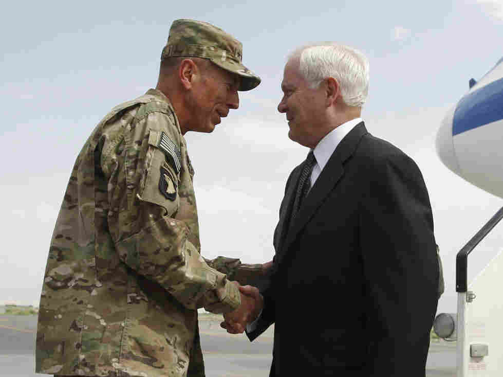 Defense Secretary Robert Gates was greeted on his arrival in Kabul by Gen. David Petraeus,  June 4, 2011.