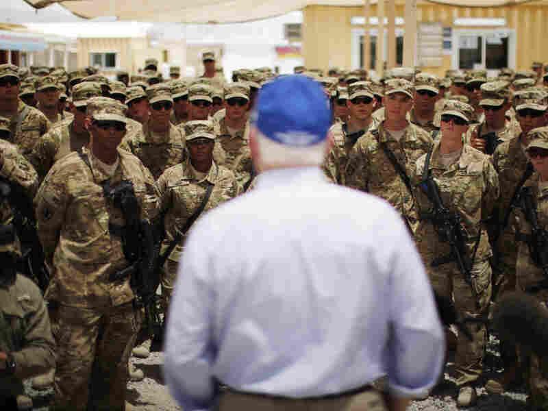 Secretary of Defense Robert Gates speaks to troops in Kandahar province, Afghanistan.