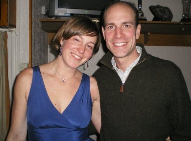 Sarah and Chad at a Christmas party with their karate dojo when Sarah was 12  weeks pregnant