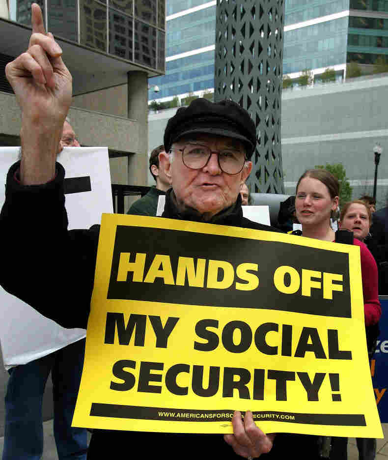 Bob Ducharme protests changes to Social Security in front of Chicago's Social Security Administration office in 2005. Until recently, AARP had not conceded that Social Security benefits may need to change in the future.