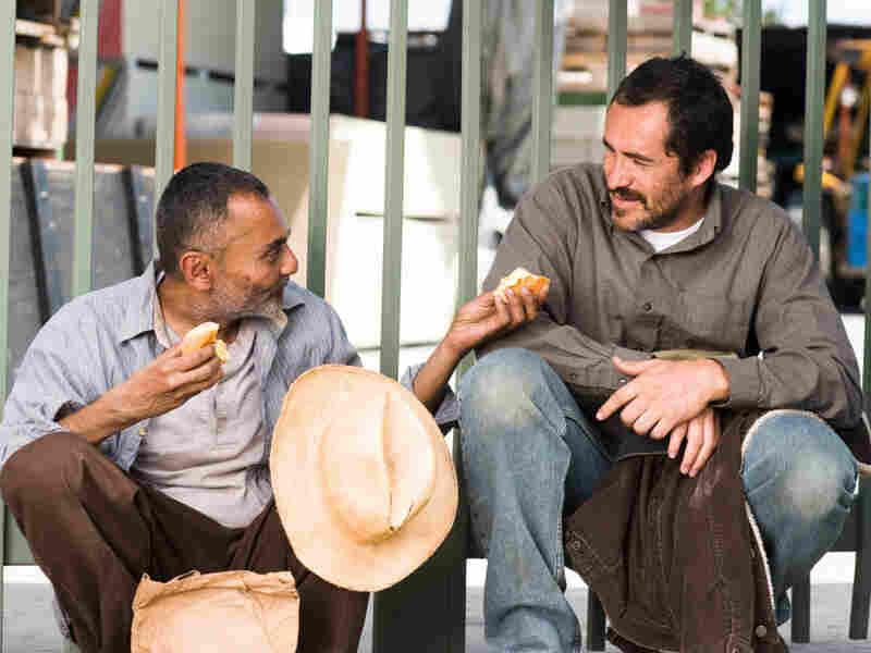 The entire film is told through the perspective of illegal immigrants  like Santiago (Carlos Linares, left) and         Carlos (Bichir).  Director Chris Weitz tours locations even most Angelenos never see.