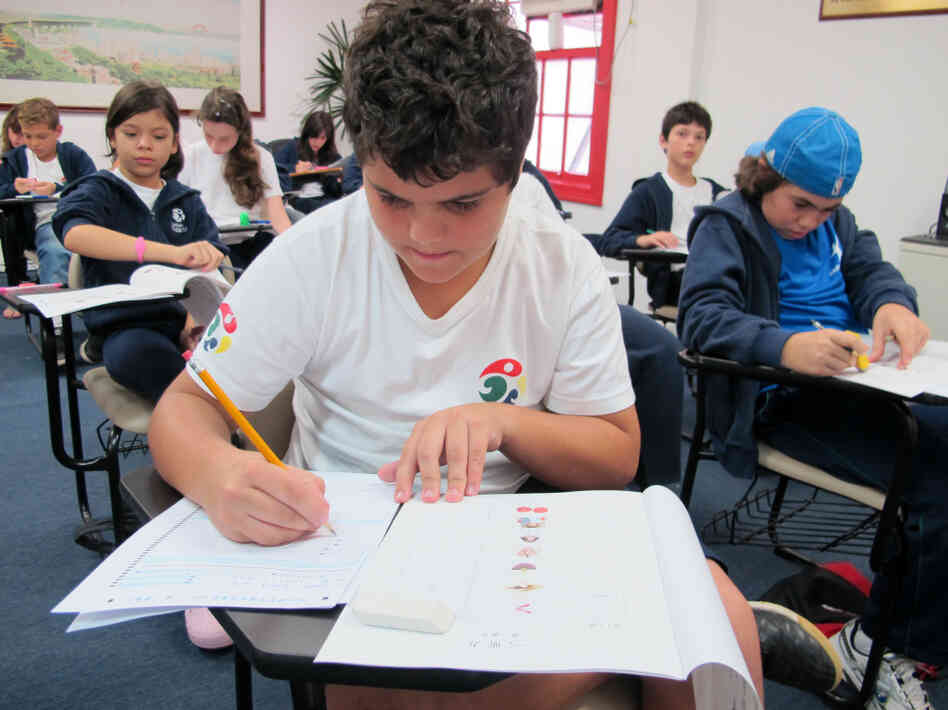 Children in Sao Paulo take a Mandarin-language proficiency class at the Confucius Institute. The institute offers language classes and cultural programs meant to teach Brazilians more about China.