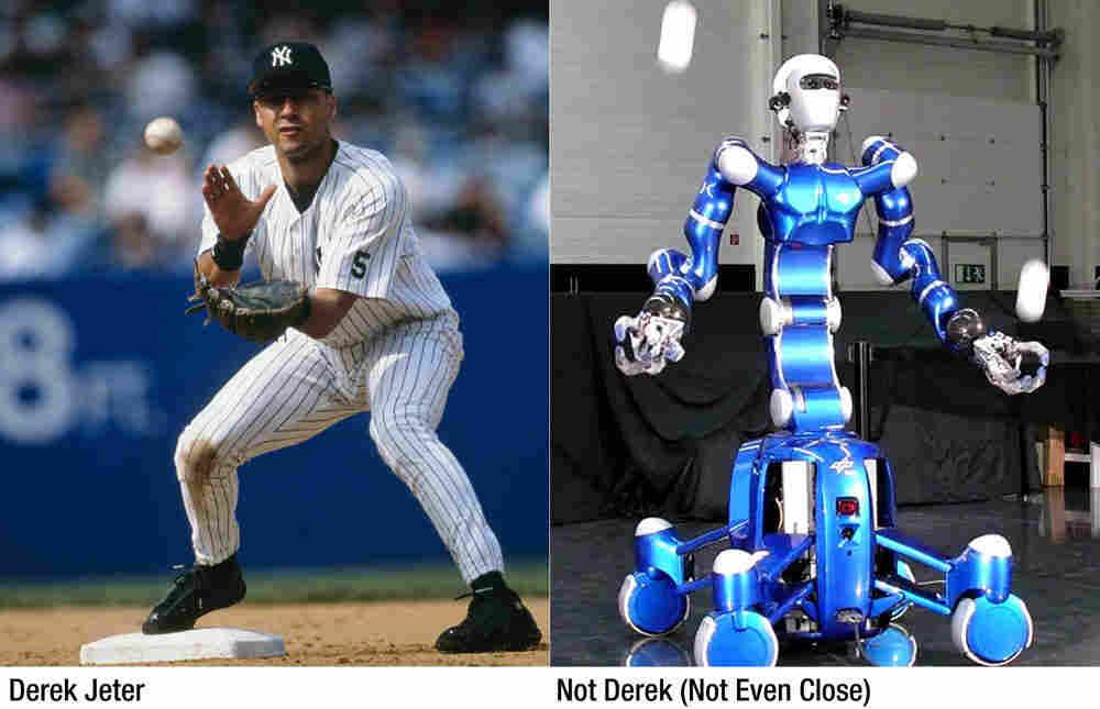 "Left: Derek Jeter of the New York Yankees; Right: ""Rollin Justin"" the robot."