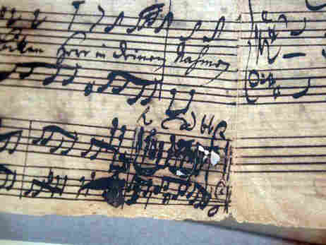 J.S. Bach's Cantata No. 171 is part of the Lehman Collection. The iron-gall ink Bach used to compose the piece has eroded the paper.