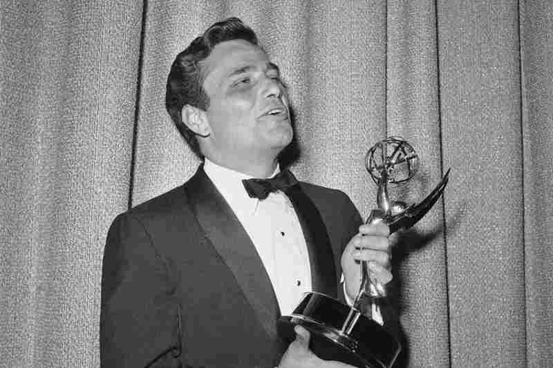 Falk admires the Emmy he won in 1962 for outstanding single performance by an actor, for his role in The Price of Tomatoes, a Dick Powell show.