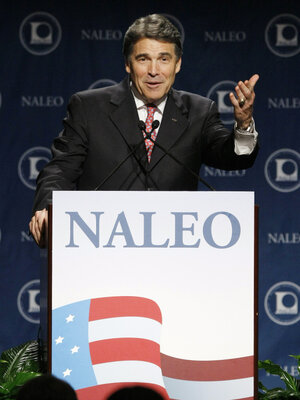 Texas Gov. Rick Perry at the National Association of Latino Elected and Appointed Officials conference, Thursday, June 23, 2011.