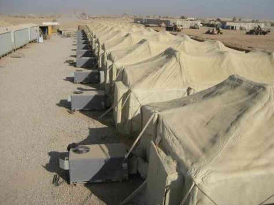 Air conditioners keep tents cool on a U.S. military base in Iraq. The tents have been treated with polyurethane foam to increase energy efficiency.