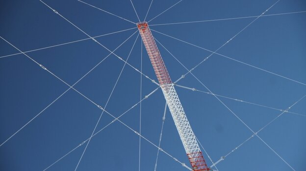 The Coast Guard tower in Baudette, Minn., nested in a web of cables.