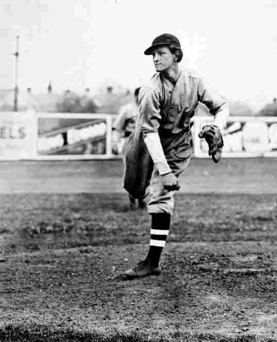 Didrikson takes the pitching mound in a baseball game in March 1934. She played on various baseball and softball teams throughout her career.