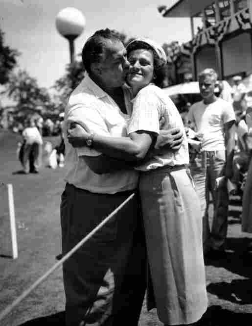 Zaharias won more than 80 amateur and professional golf tournaments throughout her career and continued to compete after her diagnosis. Her husband, George Zaharias, plants a kiss after the All-American tournament in Chicago in July 1953. She died in 1956 at age 45.