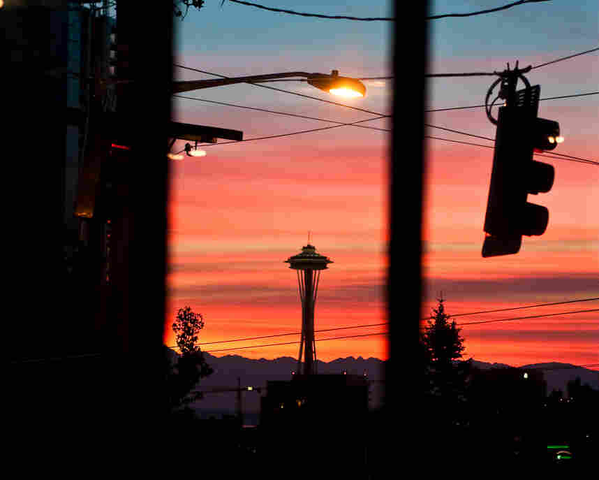 Seattle's skyline, as seen outside the Bauhaus Coffee Shop on Capitol Hill.