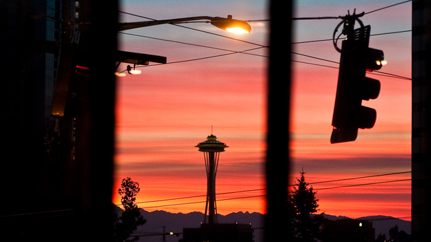 Seattle's skyline, as seen outside the Bauhaus Coffee Shop on Capitol Hill. (Kyle Johnson)