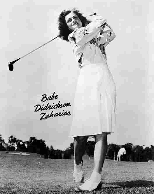 """When asked the secret of her golfing success, she loved to reply, """"I just loosen my girdle and take a whack at it."""" She is pictured here in a 1947 promotional photo."""