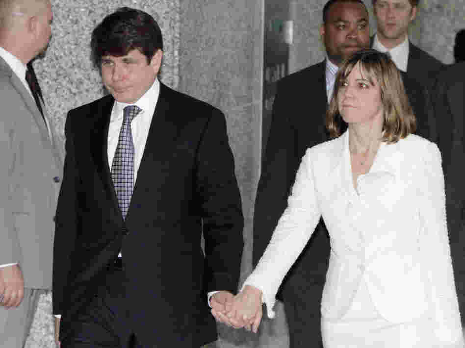 Former Illinois Gov. Rod Blagojevich leaves the federal courthouse in Chicago, Monday, June 27, 2011.