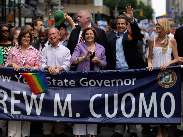 New York City Mayor Michael Bloomberg,  City Council Speaker Christine C. Quinn, New York Gov. Andrew Cuomo and Sandra Lee at the 2011 NYC LGBT Pride March, June 26, 2011.