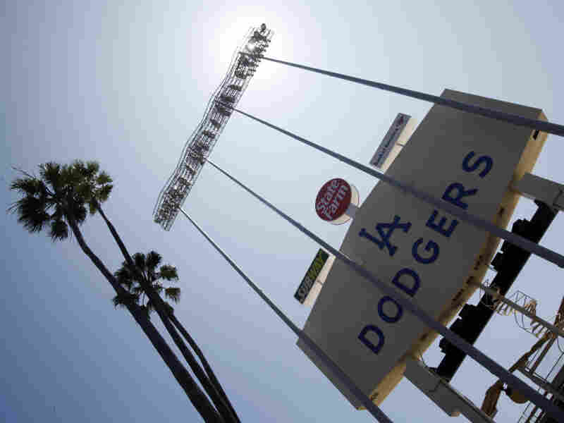The back side of the right-field scoreboard at Dodger Stadium, home of the Los Angeles Dodgers.