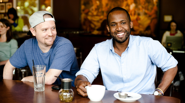 Jake One (left) and Thig Natural of The Physics at Espresso Vivace Alley 24. (Kyle Johnson for NPR)