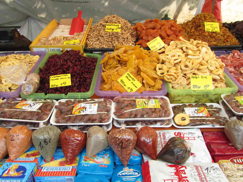Heaps of dried fruit, dates, and spices line the Turkish Market in Neukölln.