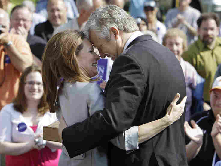 Rep. Michele Bachmann (R-MN) gets a hug from her husband Marcus following her formal announcement to seek the 2012 Republican presidential nomination on Monday in Waterloo, Iowa.  Bachmann, who was born in Waterloo, will continue her announcement tour this week with stops in New Hampshire and South Carolina.