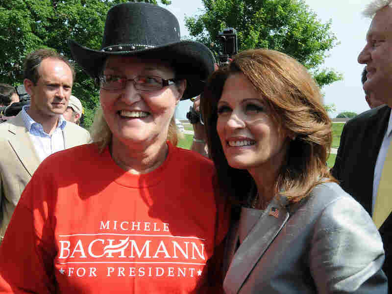 Rep. Michele Bachmann (R-MN) poses for a photo with Darla Axline after announcing her candidacy for the 2012 Republican presidential nomination on Monday in her hometown of Waterloo, Iowa.