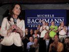 U.S. Rep. Michele Bachmann, R-Minn., addresses the crowd during a welcome home event in her hometown of Waterloo, Iowa.