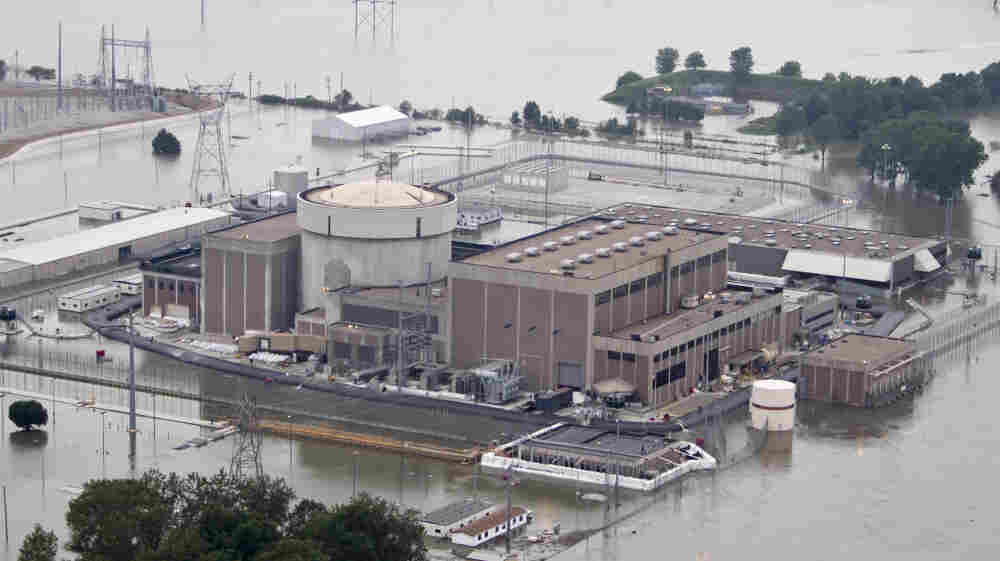 The Fort Calhoun nuclear power station in Fort Calhoun, Neb., currently shut down for refueling, is surrounded by floodwaters from the Missouri River on June 14.