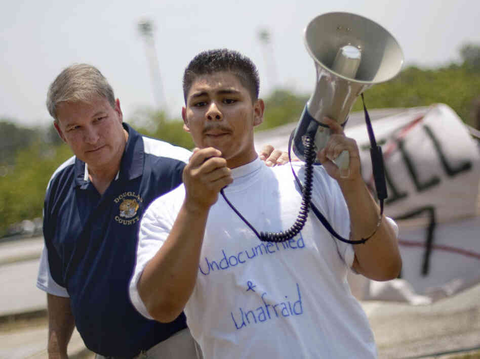 Jorge Lopez, 16, led a protest of high school students on May 25 opposing Georgia's new law cracking down on illegal immigration.