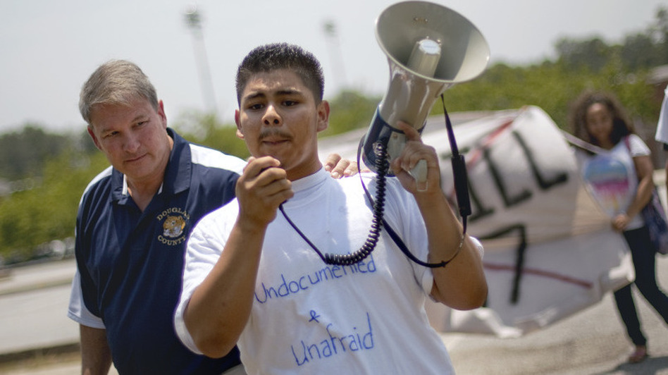 Jorge Lopez, 16, led a protest of high school students on May 25 opposing Georgia's new law cracking down on illegal immigration. (AP)
