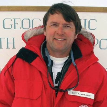 Edward Larson at the South Pole on New Year's Day 2004. Larson received a Pulitzer Prize in 1998 for his book Summer for the Gods.