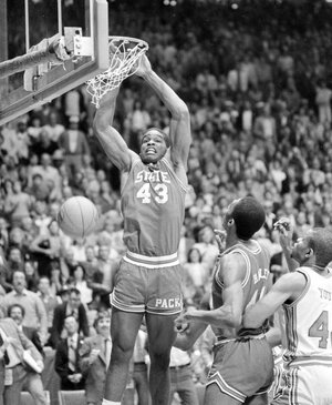 April 4, 1983: North Carolina State's Lorenzo Charles dunks the ball to give N.C. State a 54-52 win over Houston in the NCAA Championship game in Albuquerque, N.M.