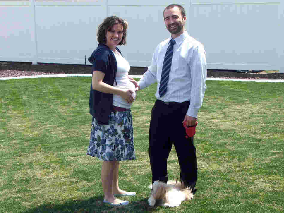 Lucy and Aaron Peck with their dog Ponyo