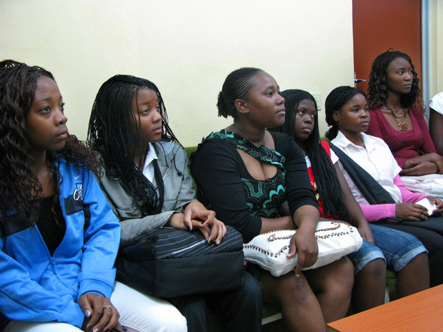 Young women who recently had abortions gather to learn about contraception at the  Maputo Central Hospital.