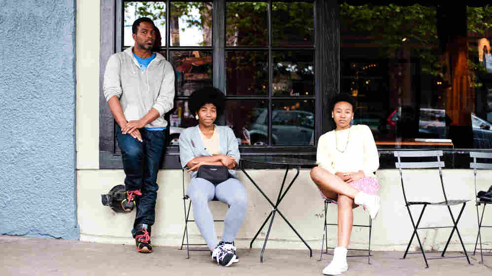 Shabazz Palaces and THEESatisfaction (from left to right, Ishmael Butler, Catherine Harris-White and Stasia Irons) outside Caffe Vita in Capitol Hill.