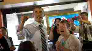 President Obama greets patrons at Ross' Restaurant in Bettendorf, Iowa, on Tuesday. In 2008, the president's unexpected victory in the state helped propel his campaign.