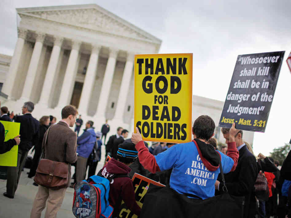Jacob Phelps of Westboro Baptist Church demonstrates outside the U.S. Supreme Court during Snyder v. Phelps this past October in Washington, D.C.