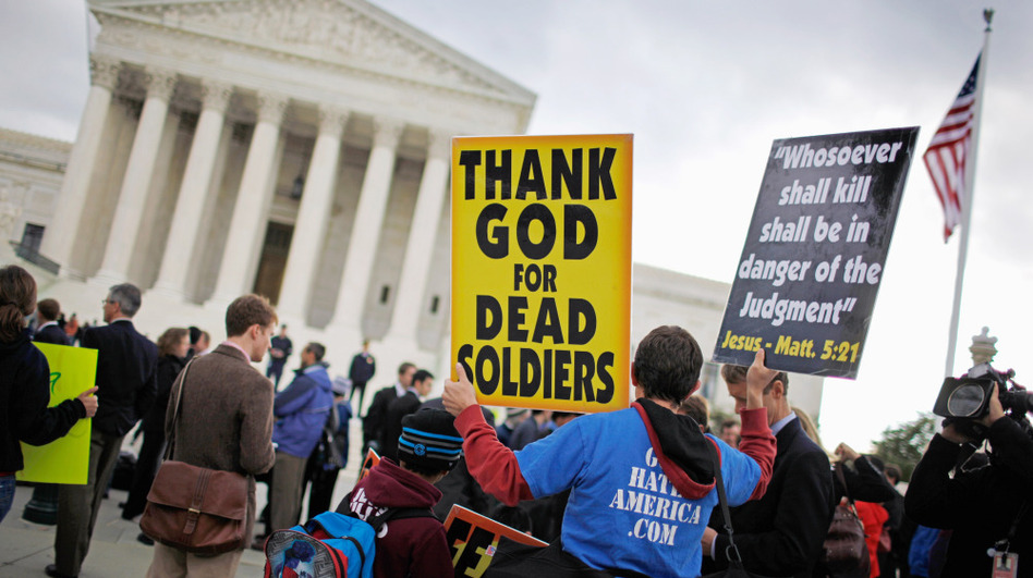 Jacob Phelps of Westboro Baptist Church demonstrates outside the U.S. Supreme Court during <em>Snyder v. Phelps</em> this past October in Washington, D.C.