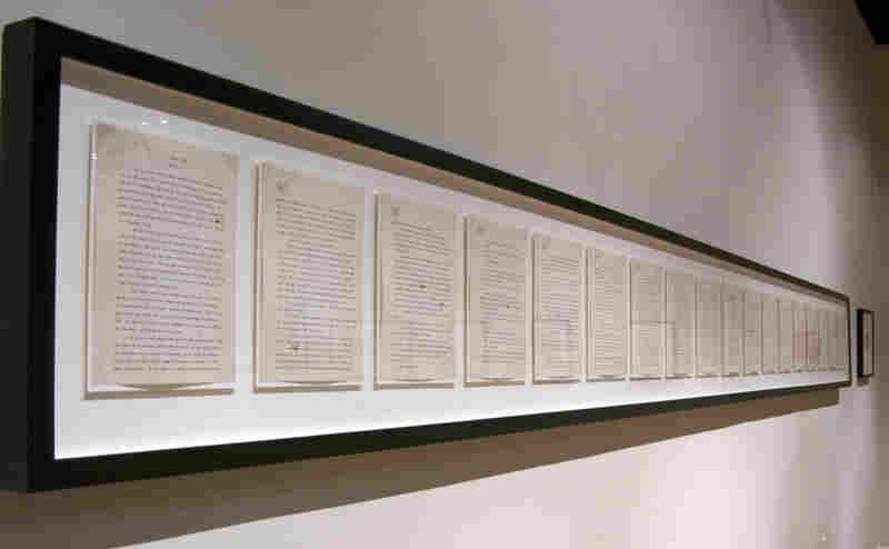 Though most of Mitchell's manuscript was burned after her death, a few chapters survived. The last pages of the book — which Mitchell actually wrote first — are framed on the wall at the Atlanta  History Center. Click here for a closer look.
