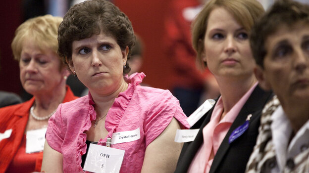 From left, Priscilla Howard, Crystal Hanna and Nancy Haunty, all breast cancer patients, listen at a Food and Drug Administration hearing on Avastin in Silver Spring, Md., on Tuesday.