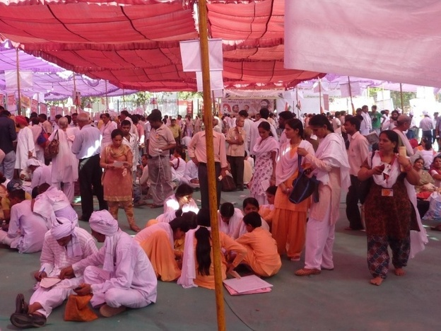 Followers of yoga teacher and anti-corruption activist Baba Ramdev meet in tents.