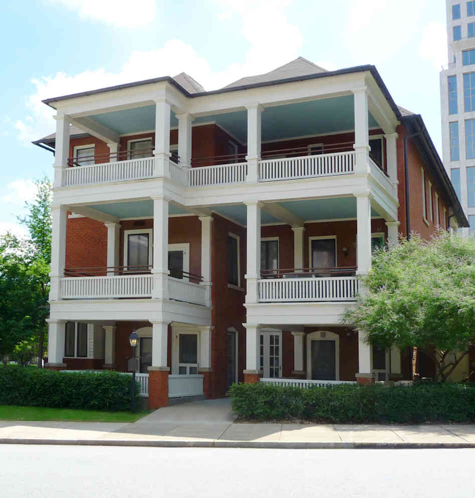 "Mitchell wrote Gone with the Wind in a tiny ground-floor apartment in Atlanta that she liked to call ""the dump."" Mitchell and her husband, John Marsh, moved into the apartment on their wedding day, July 4, 1925."