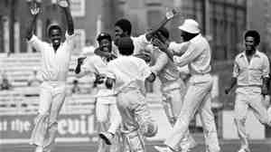 In this 1976 match between England and the West Indies, the team celebrates the dismissal of Tony Greig.
